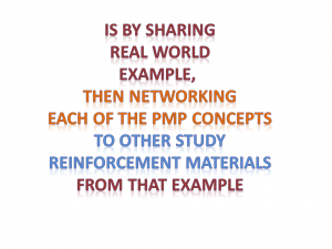sharing real world exampe and linking it back to pmp concepts